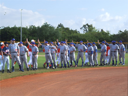 The San Juan and JFK teams congratulate one another after   the championship game.