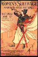 Poster announcing a women suffrage march and meeting with a picture of a women blowing a bugle and holding a while banner on a red pole