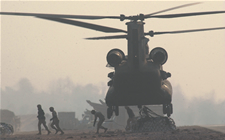 Image helicopter landing in a war zone