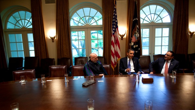 The President meets with President Karzai of Afghanistan and President Zardari of Pakistan