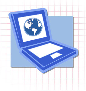 Computer with a picture of a globe on the screen