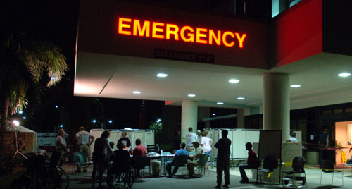 FEMA Disaster Medical Assistance Team members have set up a temporary emergency room outside of the the JFK Medical Center