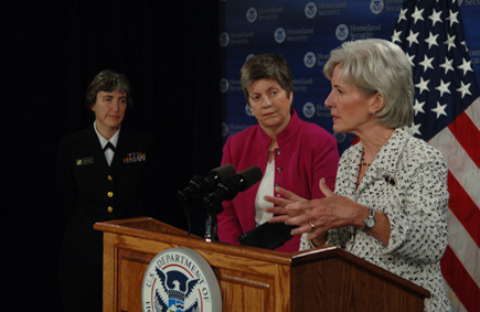 Secretary Sebelius meets with Secretary Napolitano at the Department of Homeland Security. Following their meeting, they held a news conference with the CDC's Dr. Anne Schuchat on the joint response to the virus. (HHS Photos by Chris Smith)