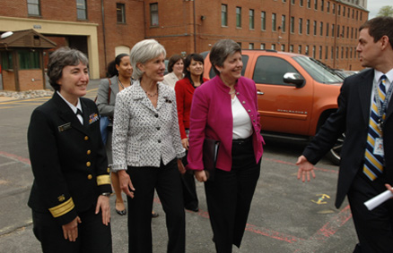 Dr. Anne Schuchat of the CDC, Secretary Sebelius and Secretary Napolitano following the press conference at the Department of Homeland Security. HHS and DHS have been working in concert to aggressively respond to the outbreak. (HHS Photos by Chris Smith)