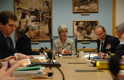 Secretary Sebelius brought together department heads for a briefing on the ongoing response to the H1N1 Flu Virus outbreak. Acting CDC Director Dr. Richard Besser participated in the meeting by phone from Atlanta. (HHS Photos by Chris Smith)