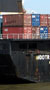 Cargo containers on a ship.