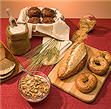 Picture of whole-wheat flour and whole-wheat baked goods