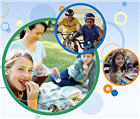 Graphic treatment of active kids and family enjoying picnic.