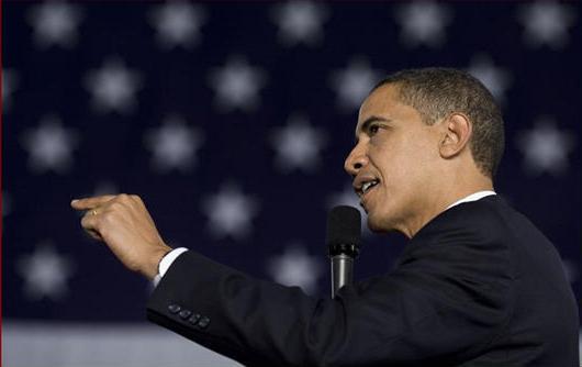 President Obama gives a speech