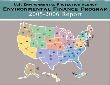 image of 2005-06 Environmental Finance Annual Report's front cover featuring a map of the 10 US regions