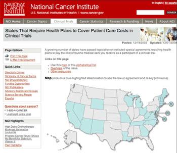 A screenshot of NCI's website.