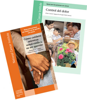 """The cover of """"Control del dolor: Apoyo para las personas con cáncer"""" (Pain Control: Support for People with Cancer)."""