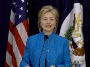 Date: 05/01/2009 Description: Secretary Clinton speaking at annual Foreign Affairs Day at the Department of State. State Department still from video State Dept Photo