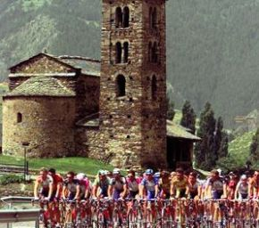 Date: 07/16/1997 Location: Andorra. Description: Bikers ride past old church in the Envalira pass between Andorra and southern France. © AP Photo