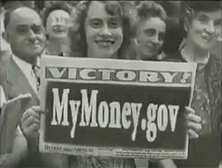 smiling girl holding a mymoney.gov sign