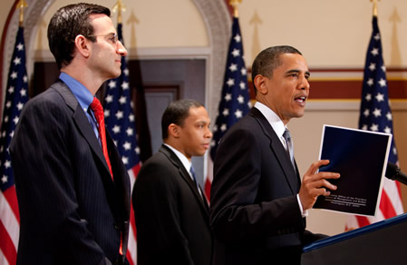 """""""The President, joined by Director Orszag and Deputy Director Nabors, discusses fiscal responsibility."""""""