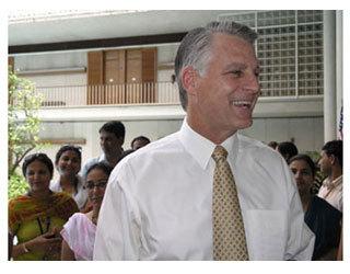 Ambassador-Designate Timothy J. Roemer greets embassy staff, July 27, 2009.