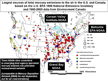 Map showing largest mercury emission sources over US and Canada