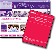 Recovery Month Web Site Homepage Screenshot and Front Cover of 'Results From the 2007 National Survey on Drug Use and Health: National Findings' PDF