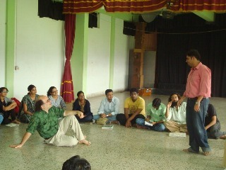 The workshop in progress at the Academy of Theatre Arts, Mumbai University, Kalina, Santacruz