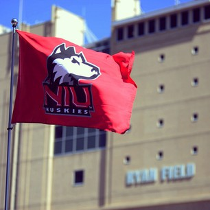 The Huskie flag flew proudly on Saturday at Ryan Field thanks to the @niufootball victory over the NU Wildcats. #23-15 #bigten