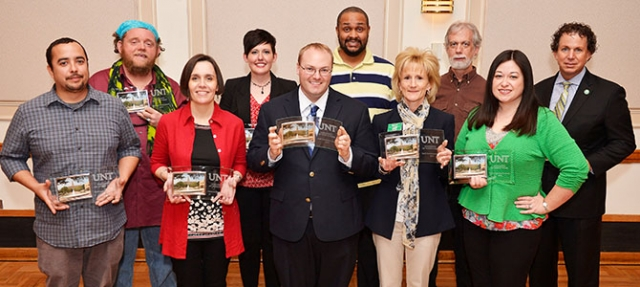 2013 Staff Contribution Award winners, from left, Steven Altuna, Keith Brown, Pauline Raffestin, Tracy Frier, Kerry Stanhope, Eugene Frier, Beth Kent, Bobby Griffith, Stella Antic, David Broughton.