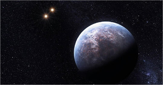 This artist rendering provided by the European South Observatory shows some of the 32 new planets astronomers found outside our solar system.